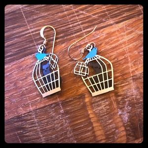 Black kitty cat and bird cage earrings
